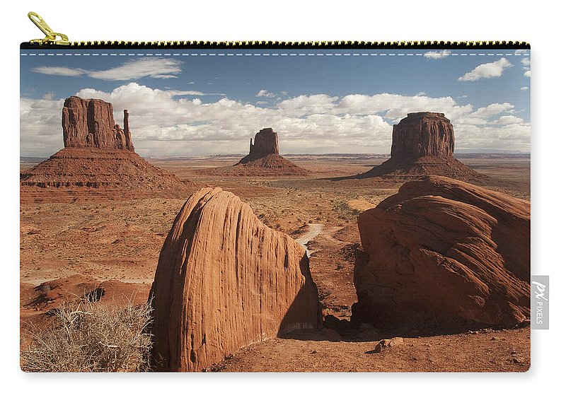 View Carry-all Pouch featuring the photograph Monument Valley View 7539 by Bob Neiman