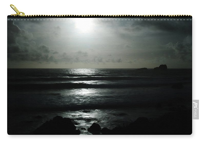 Black And White Carry-all Pouch featuring the photograph Moody Coast by Erin Donalson