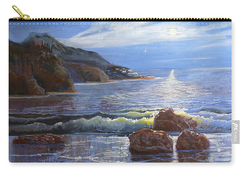 Night Carry-all Pouch featuring the pastel Moon Above The Olympic Peninsula by Heather Coen