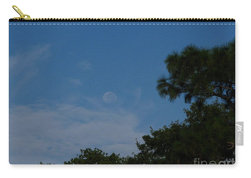September A.m. Moon Carry-all Pouch featuring the photograph Moon Age Day Dream by Greg Patzer