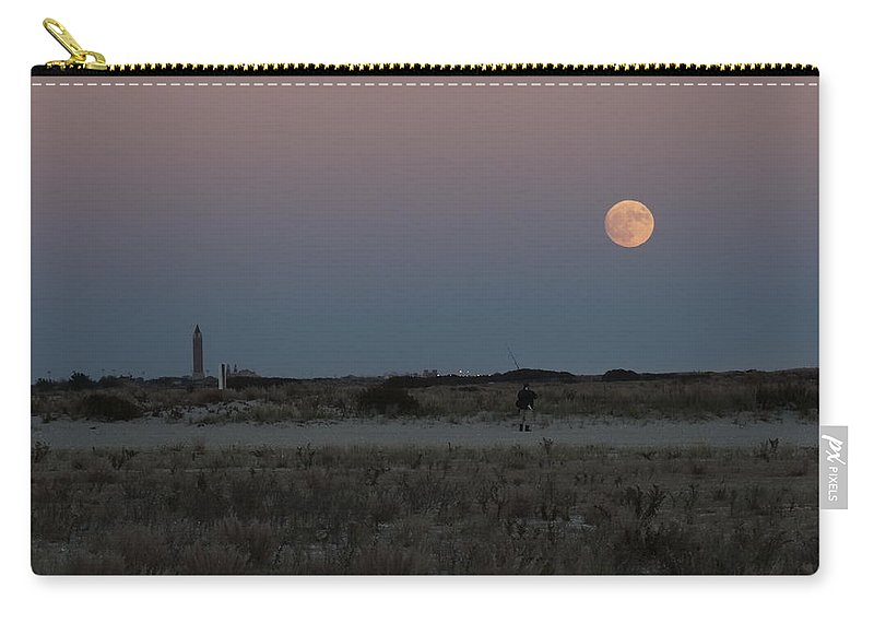 Carry-all Pouch featuring the photograph Moon Beach by Ron Rossiello