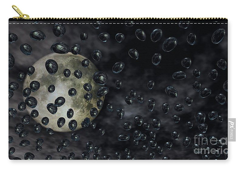 Moon Carry-all Pouch featuring the digital art Moon Drops by Richard Rizzo