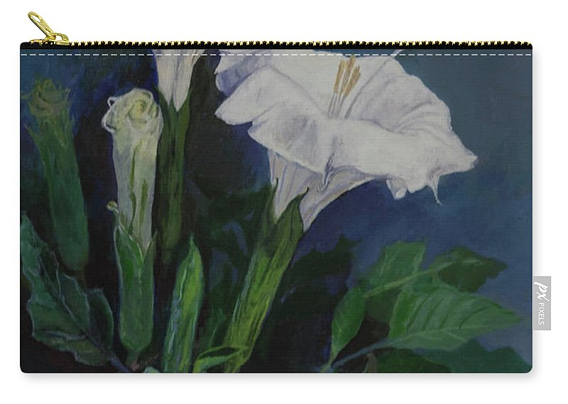 Carry-all Pouch featuring the painting Moon Flower by Beatriz Flores