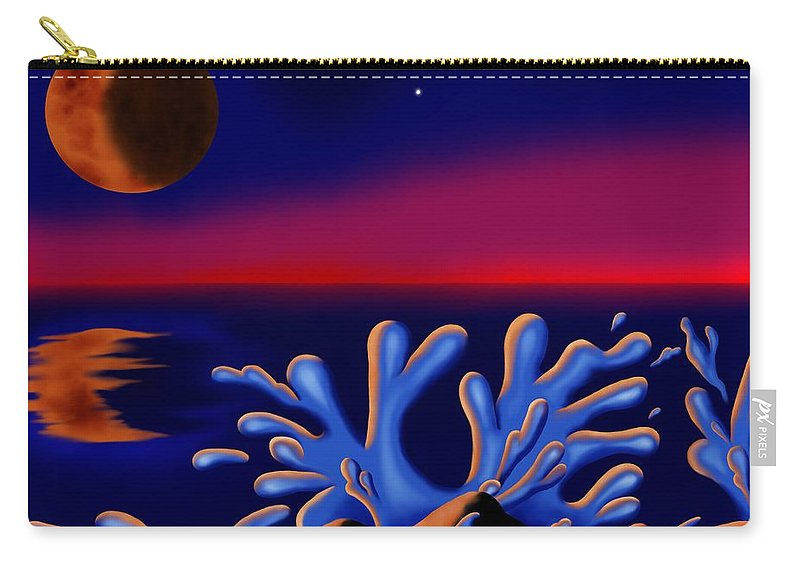 Surrealism Carry-all Pouch featuring the digital art Moon-glow II by Robert Morin