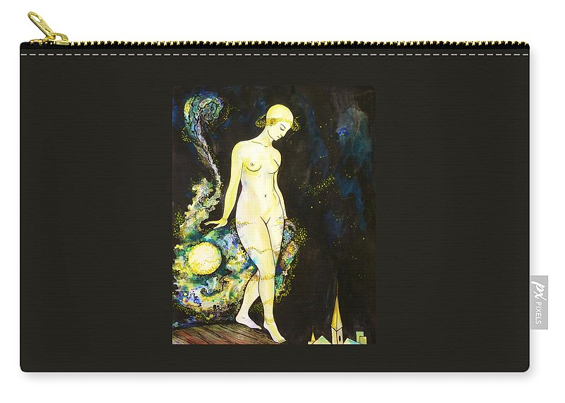 Pen And Ink Carry-all Pouch featuring the drawing Moon Light by Anna Duyunova