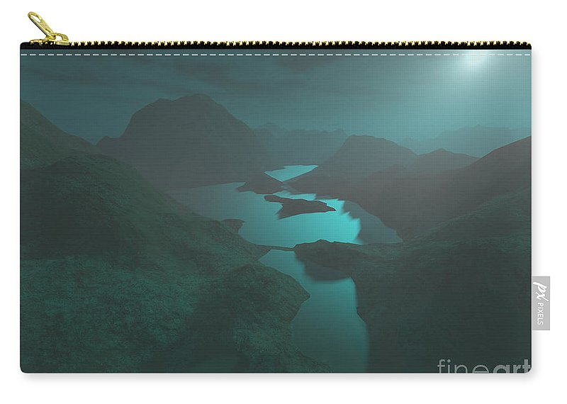 Digital Art Carry-all Pouch featuring the digital art Moon Light At The Mountains by Gaspar Avila