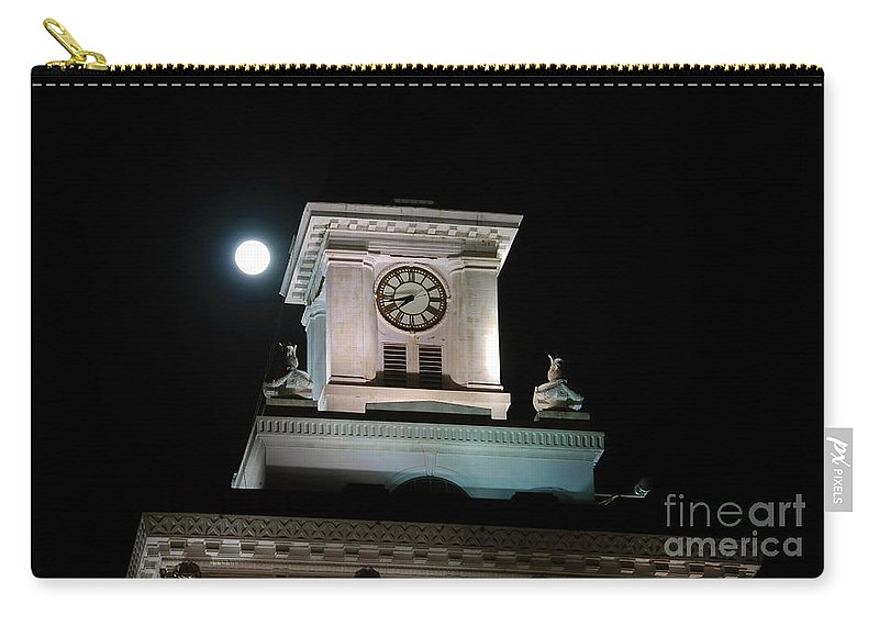 Full Moon Carry-all Pouch featuring the photograph Moon Over City Hall by David Lee Thompson