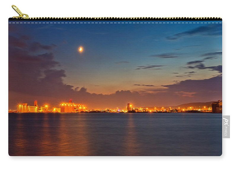 Sky Carry-all Pouch featuring the photograph Moon Over Duluth Harbor by John M Bailey