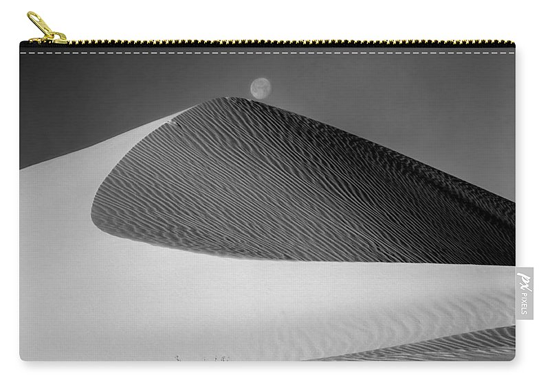 Moon Over Dune Carry-all Pouch featuring the photograph 214804-bw-moon Over Dune by Ed Cooper Photography