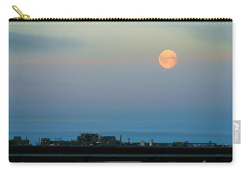 Landscape Carry-all Pouch featuring the photograph Moon Over Flow Station 1 by Anthony Jones