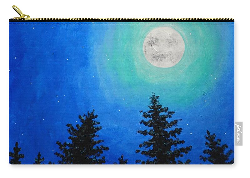 Pine Carry-all Pouch featuring the painting Moon Over Pines by Emily Page