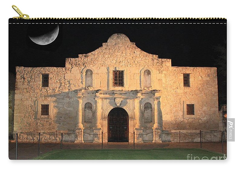The Alamo Carry-all Pouch featuring the photograph Moon Over The Alamo by Carol Groenen