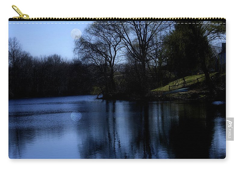 Moon Carry-all Pouch featuring the digital art Moon over the Charles by Edward Cardini