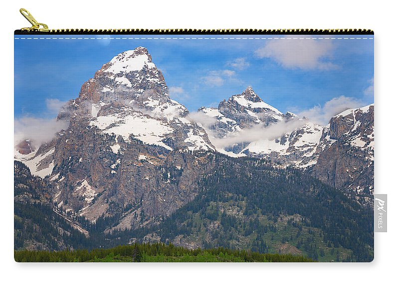 Moon Carry-all Pouch featuring the photograph Moon Over The Tetons by Darren White