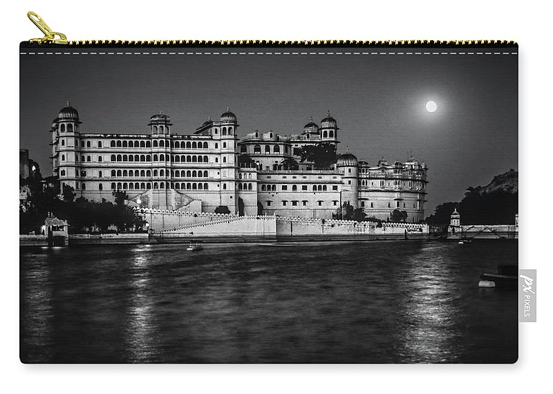 India Carry-all Pouch featuring the photograph Moon Over Udaipur Bw by Steve Harrington