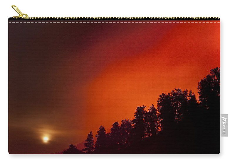 Wild Fire Carry-all Pouch featuring the photograph Moon Rising With A Wild Fire by James BO Insogna