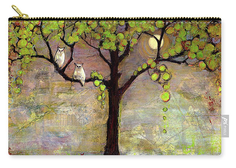 Paintings Carry-all Pouch featuring the painting Moon River Tree Owls Art by Blenda Studio