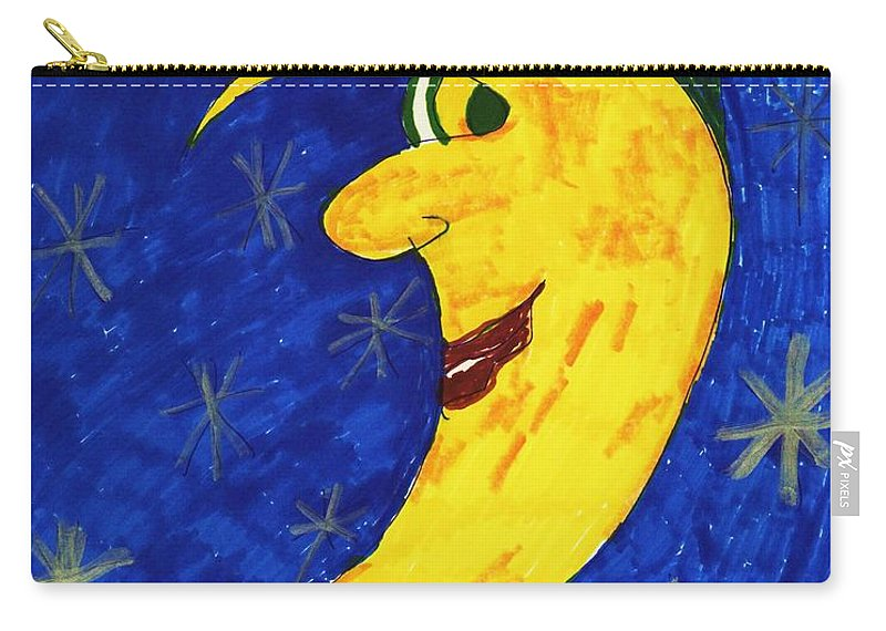 Half Moon In Sky. Carry-all Pouch featuring the mixed media Moon Shine by Elinor Helen Rakowski