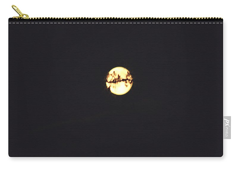 Moon Trees Night Dark Sky Branches Lonely Love Hug Carry-all Pouch featuring the photograph Moon Wrapped by Andrea Lawrence