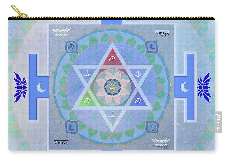 Sandra Petra Pintaric Carry-all Pouch featuring the mixed media Moon Yantra by Sandra Petra Pintaric