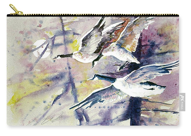 Moon Carry-all Pouch featuring the painting Moonlight Canadian Geese by Connie Williams