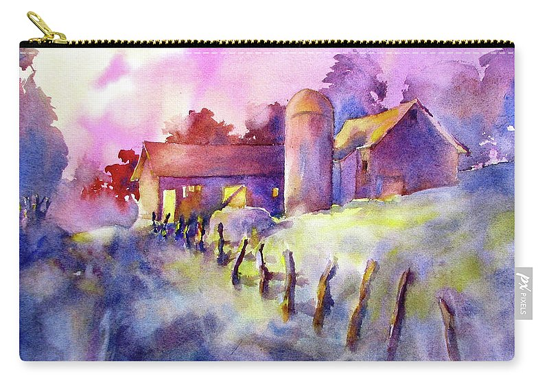 Watercolor Carry-all Pouch featuring the painting Moonlight Farm by Virgil Carter