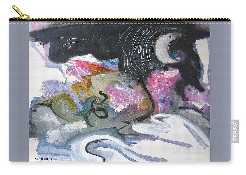 Abstract Paintings Carry-all Pouch featuring the painting Moonlight Fever by Seon-Jeong Kim