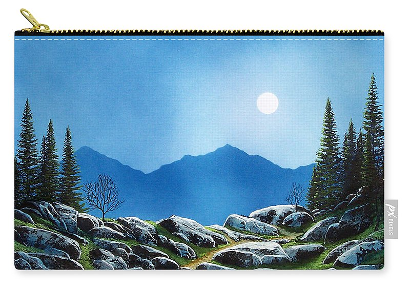 Landscape Carry-all Pouch featuring the painting Moonlight Hike by Frank Wilson