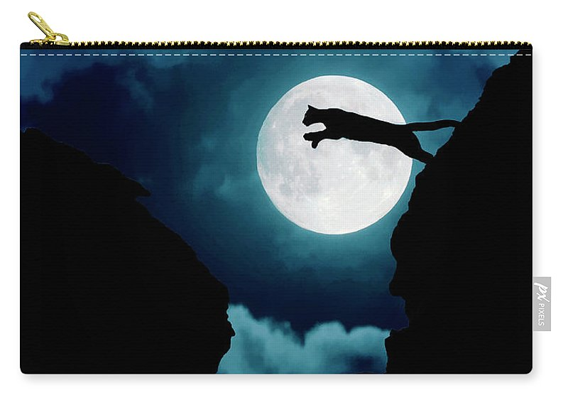 Mountain Lion Carry-all Pouch featuring the photograph Moonlight Leap by Roy Nierdieck