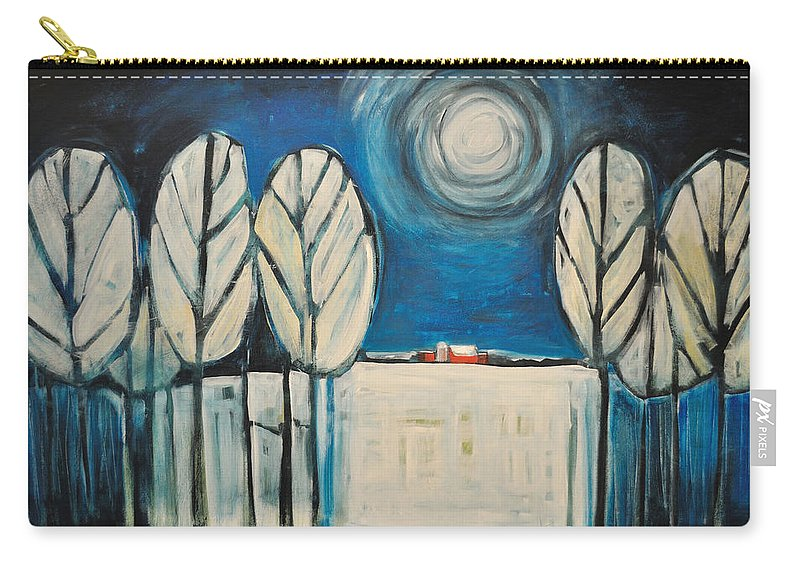 Landscape Carry-all Pouch featuring the painting Moonlight On The First Snow by Tim Nyberg