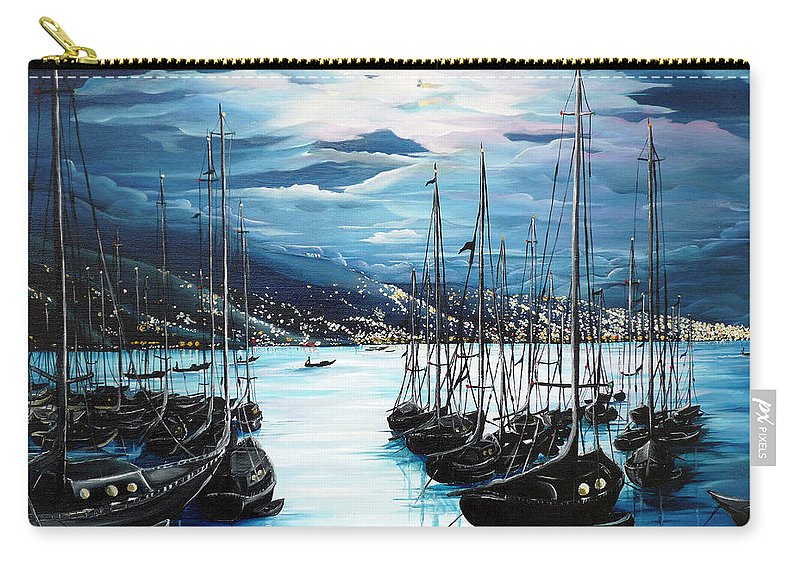 Ocean Painting  Caribbean Seascape Painting Moonlight Painting Yachts Painting Marina Moonlight Port Of Spain Trinidad And Tobago Painting Greeting Card Painting Carry-all Pouch featuring the painting Moonlight Over Port Of Spain by Karin Dawn Kelshall- Best