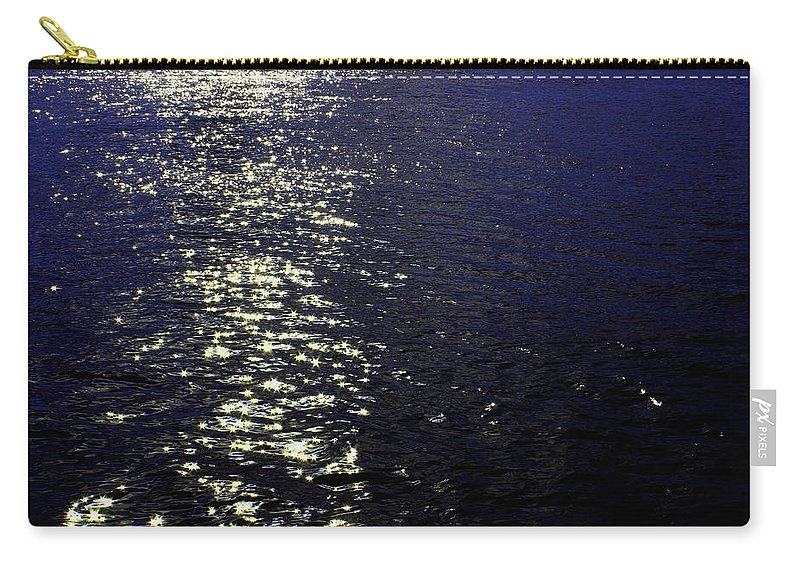 Ocean Carry-all Pouch featuring the photograph Moonlight Sparkles On The Sea by Linda Woods