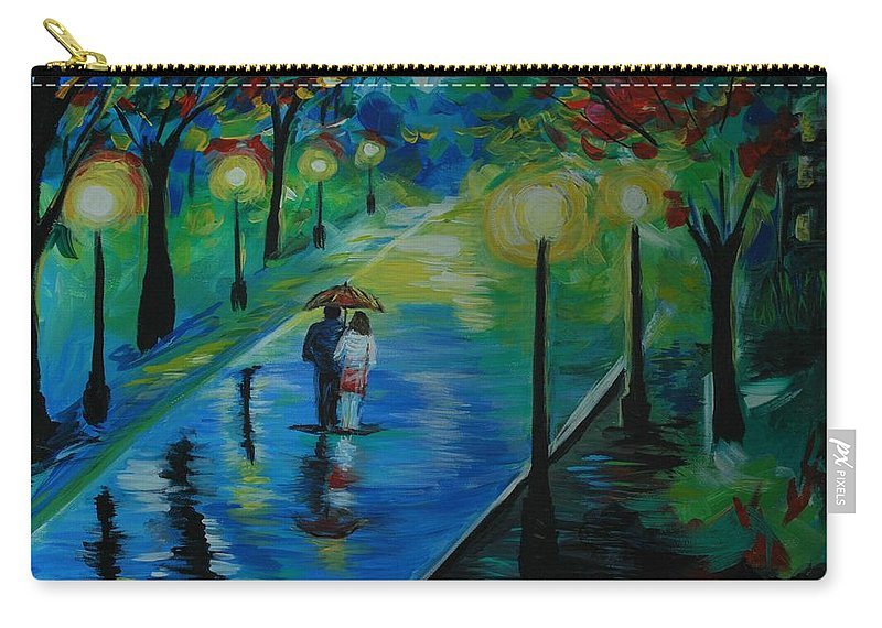 Couple Carry-all Pouch featuring the painting Moonlight Stroll by Leslie Allen