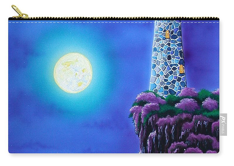 Lighthouse Carry-all Pouch featuring the painting Moonlight Vigil by Angie Hamlin