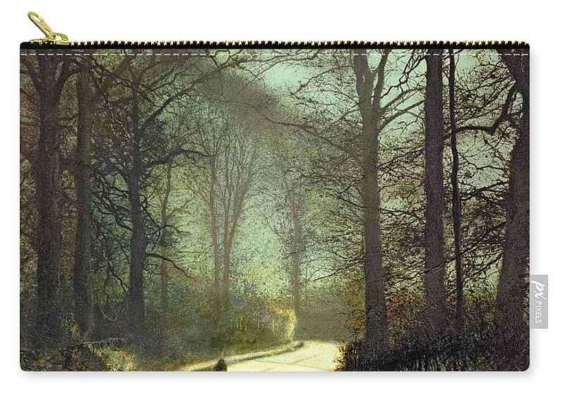 John Atkinson Grimshaw Carry-all Pouch featuring the painting Moonlight Walk by John Atkinson Grimshaw