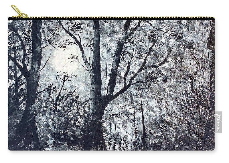 Landscape Carry-all Pouch featuring the painting Moonlit Forest by Richard Fey