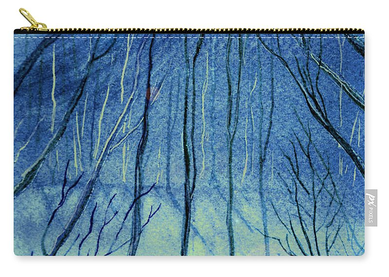 Watercolor Carry-all Pouch featuring the painting Moonlit In Blue by Brenda Owen