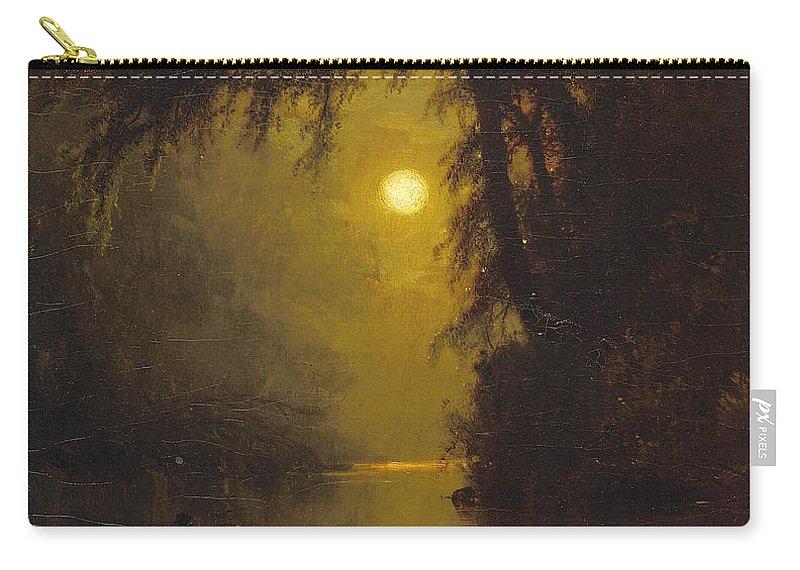 Arthur Parton Carry-all Pouch featuring the painting Moonlit Landscape by Arthur Parton