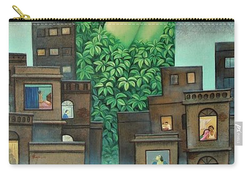 Romantic Carry-all Pouch featuring the painting Moonlit Night- A by Raju Bose