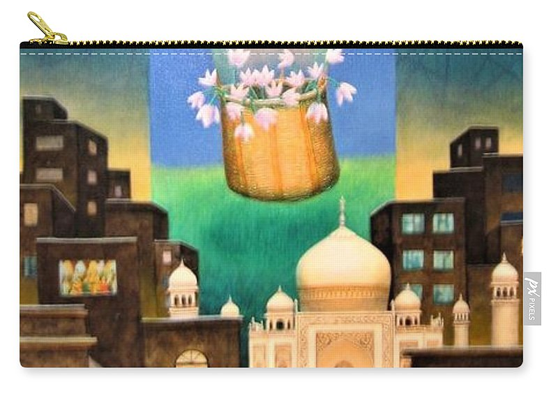 Romantic Carry-all Pouch featuring the painting Moonlit Night-b by Raju Bose