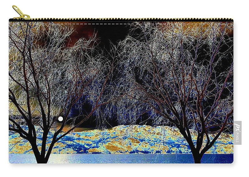 Moonlit Carry-all Pouch featuring the photograph Moonlit Okanagan Lake by Will Borden