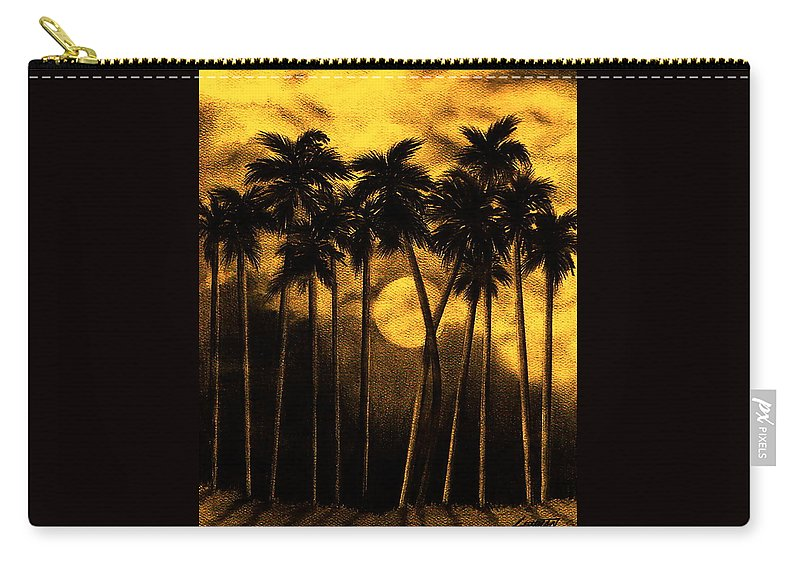 Moonlit Palm Trees In Yellow Carry-all Pouch featuring the mixed media Moonlit Palm Trees In Yellow by Larry Lehman