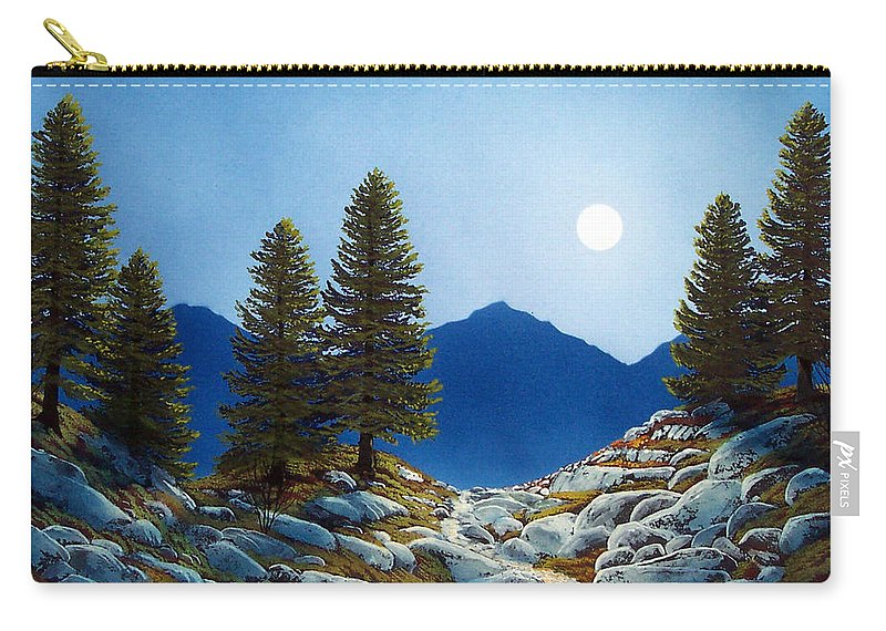 Landscape Carry-all Pouch featuring the painting Moonlit Trail by Frank Wilson