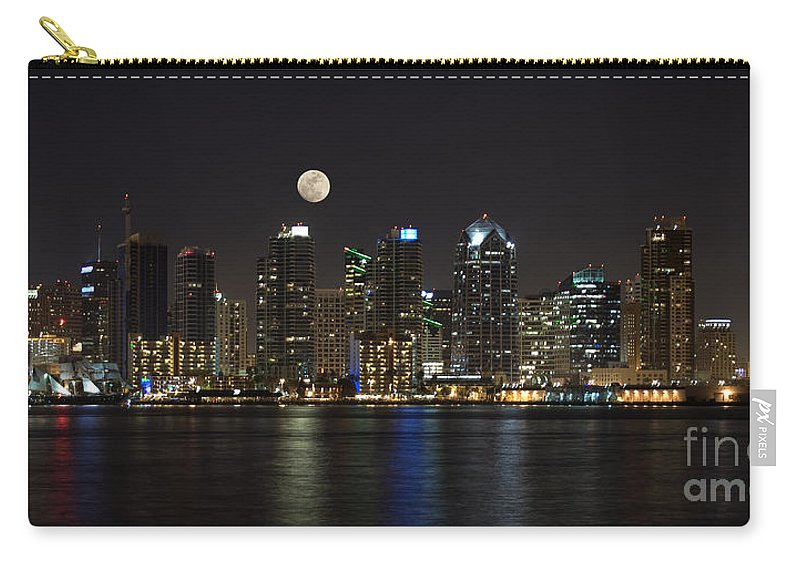 Panorama Carry-all Pouch featuring the photograph Moonrise Over San Diego by Sandra Bronstein