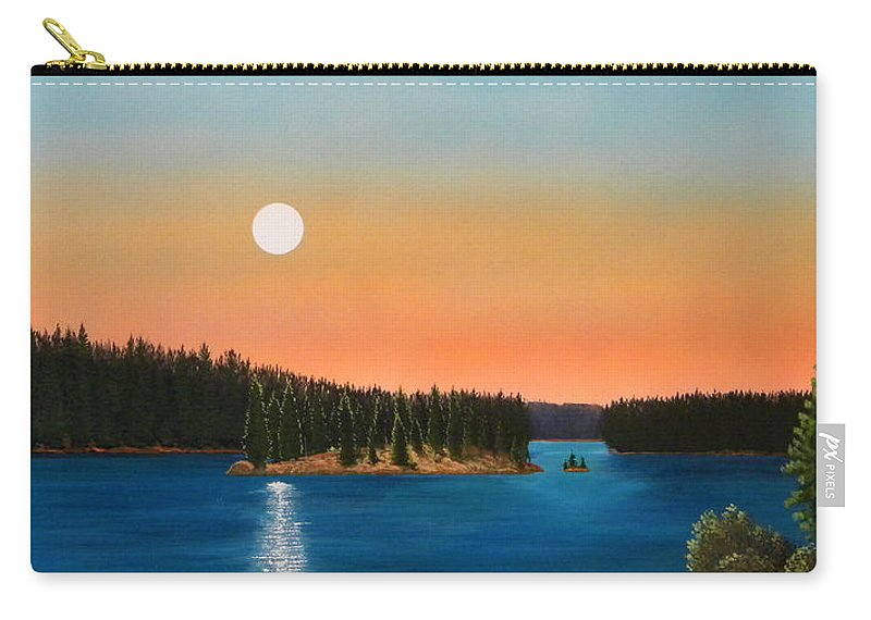 Landscape Carry-all Pouch featuring the painting Moonrise Over The Lake by Frank Wilson