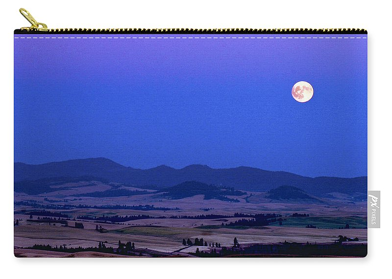 Jean Noren Carry-all Pouch featuring the photograph Moonrise Over The Palouse By Jean Noren by Jean Noren
