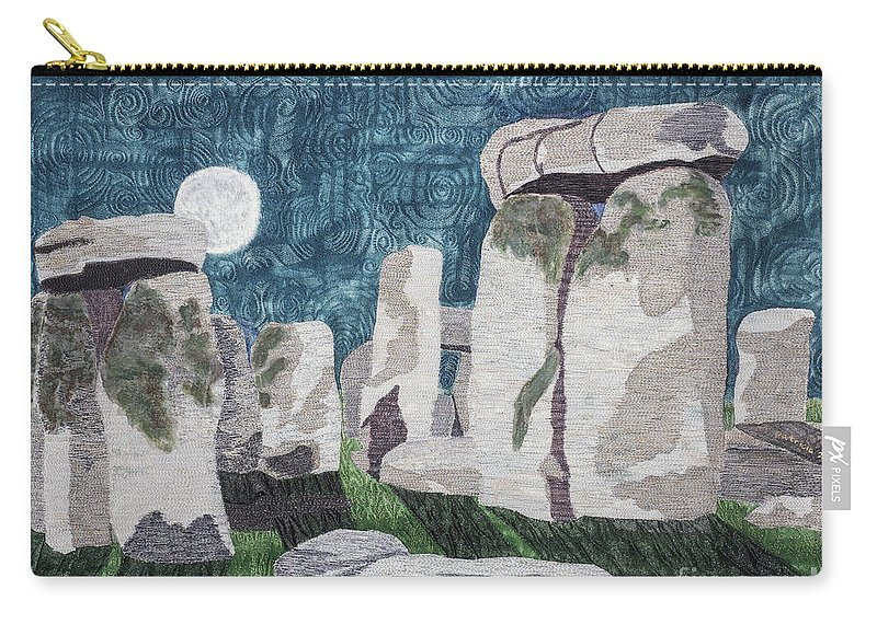 Landscape Carry-all Pouch featuring the tapestry - textile Moonrise Salisbury by Patricia Gould