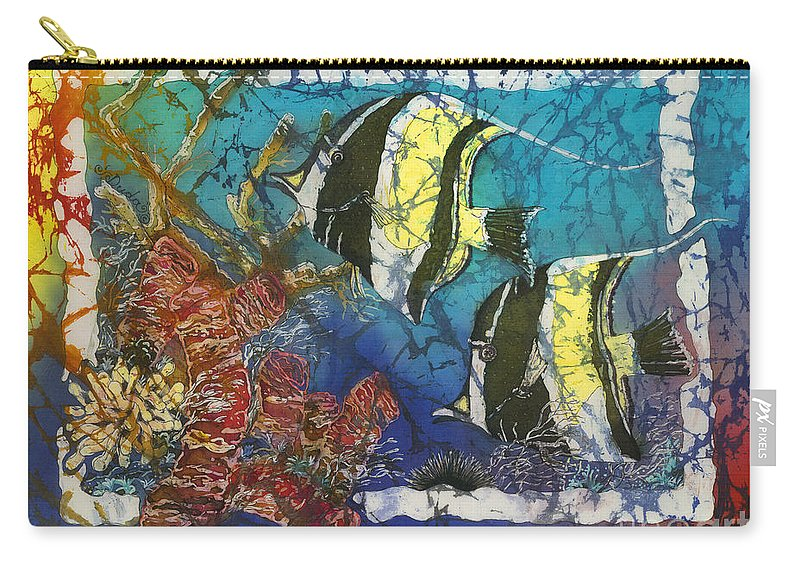 Moorish Idols Carry-all Pouch featuring the painting Moorish Idols by Sue Duda