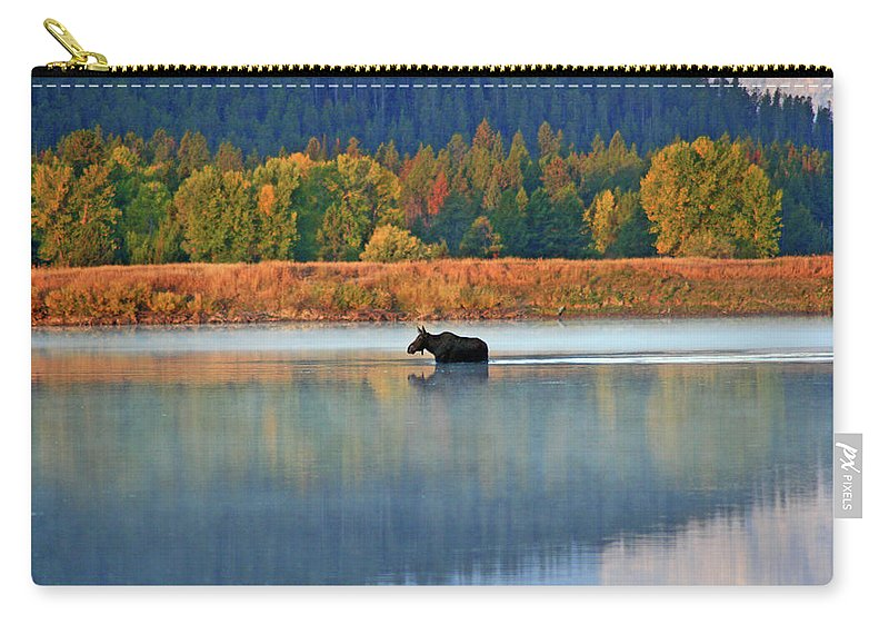 Moose Carry-all Pouch featuring the photograph Moose Crossing by Scott Mahon