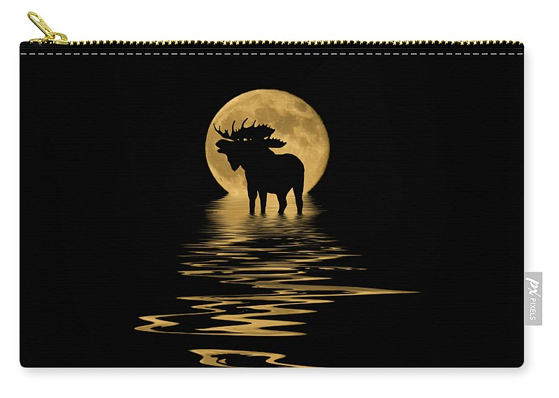 Colorado Carry-all Pouch featuring the mixed media Moose In The Moonlight by Shane Bechler